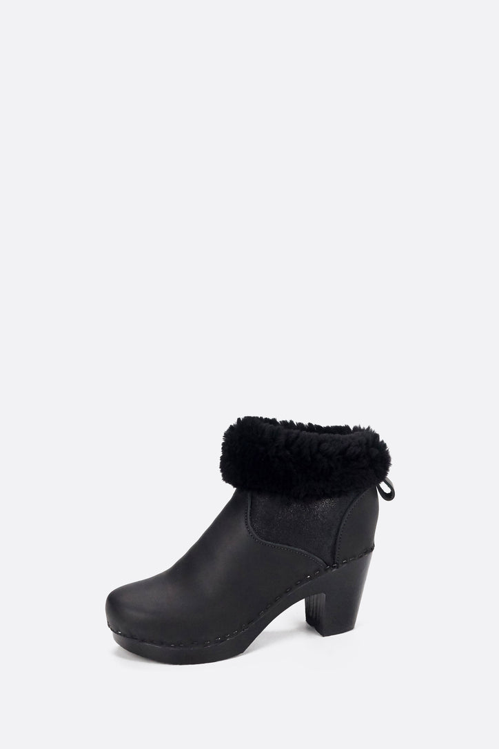 "Image of No.6 5"" Pull On Shearling Clog Boot on High Heel in Double Black Aviator on Black Base"