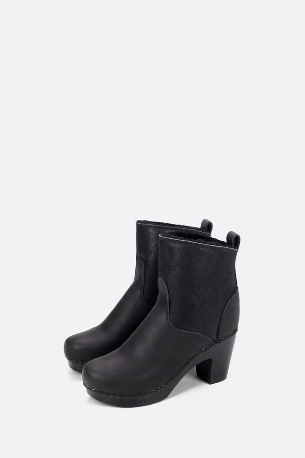 "No.6 5"" Pull On Shearling Clog Boot on High Heel in Double Black Aviator on Black Base"