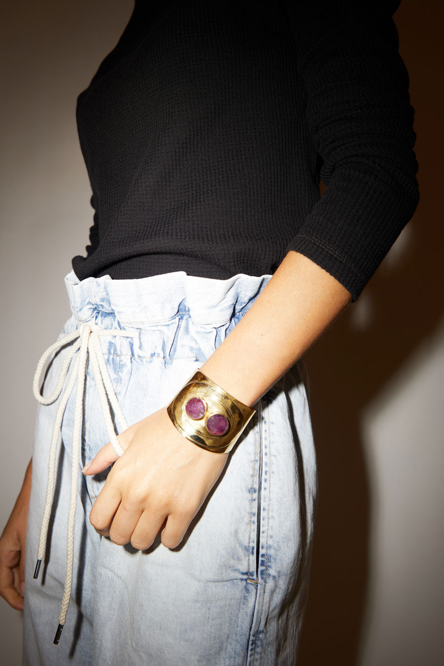 AESA Mabe Cuff in Bronze and Amethyst