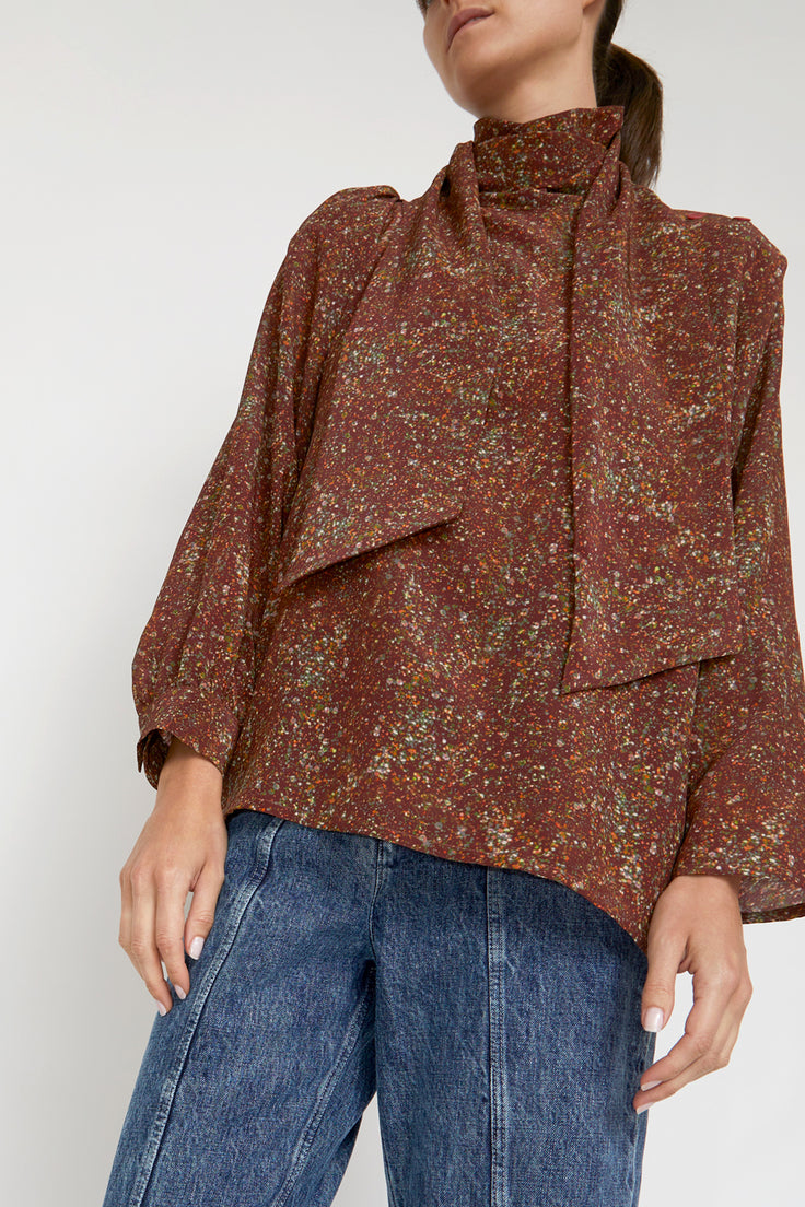 Image of Anntian Asym Blouse Top in Print C