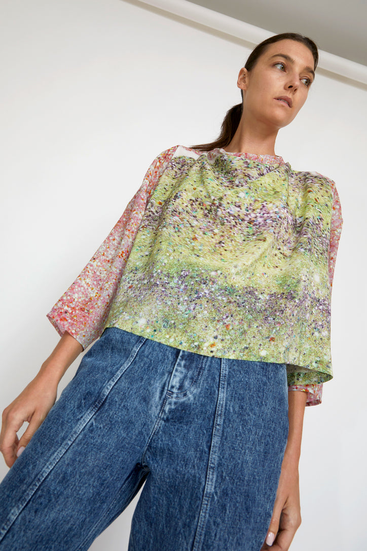 Image of Anntian Asym Blouse Top in Print L Light