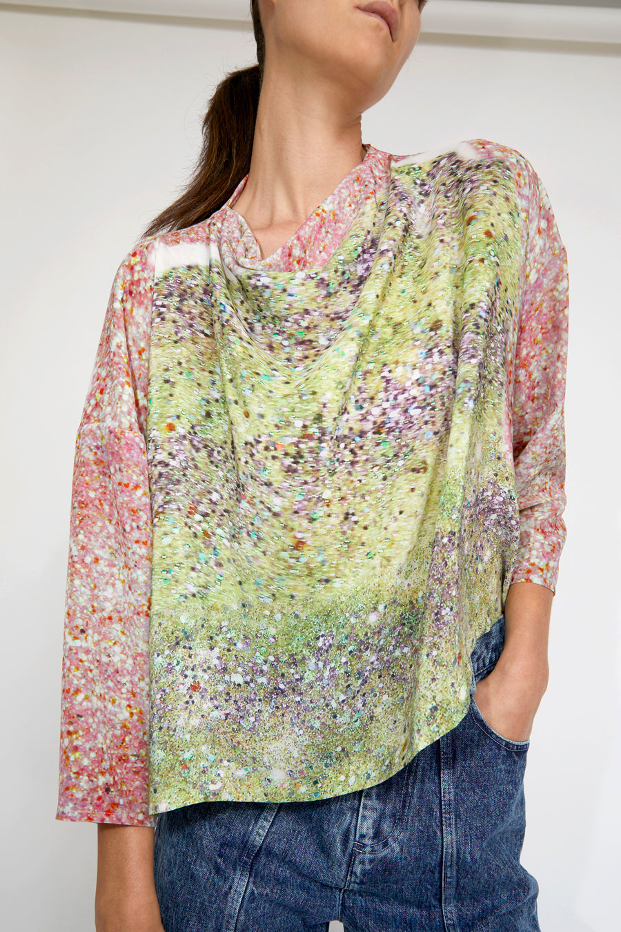 Anntian Asym Blouse Top in Print L Light