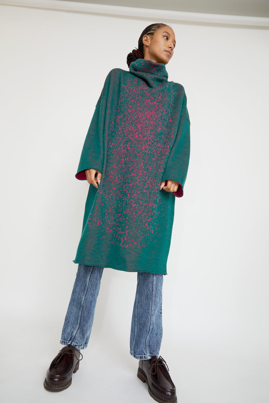Anntian Knitdress in Green and Pink Cosmic