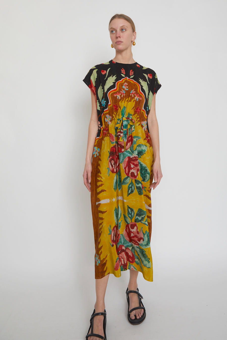 Anntian Simple Dress in Panel Print D