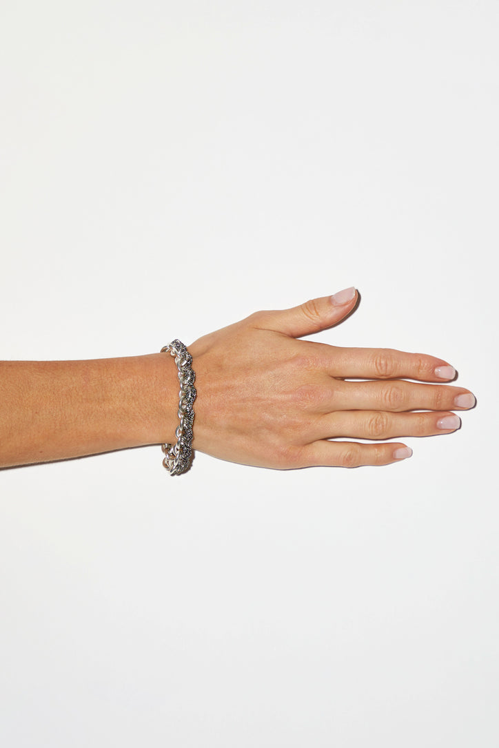 Image of Arielle de Pinto Connection Bracelet in Anti-Peach with Silver Links