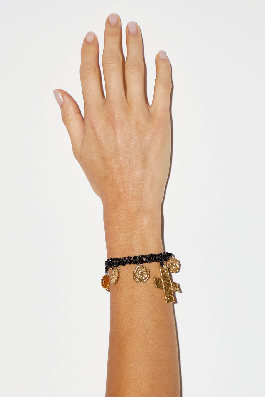 Arielle de Pinto Currency Bracelet with Twist Toggle in Charcoal with Brass Hardware