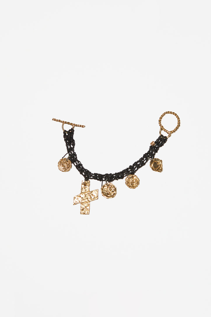 Image of Arielle de Pinto Currency Bracelet with Twist Toggle in Charcoal with Brass Hardware