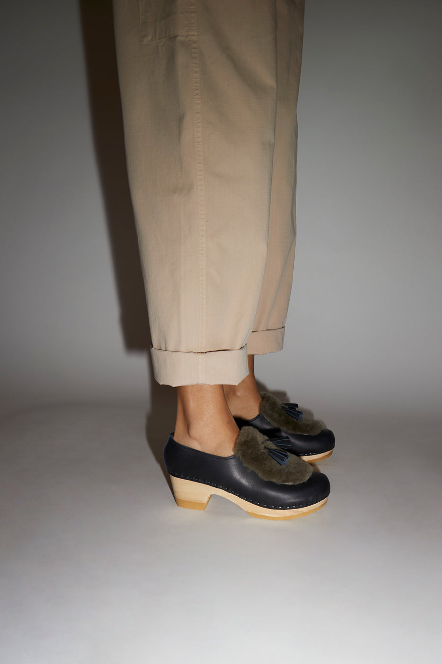 No.6 Billie Fur Clog on Mid Heel in Indigo and Storm