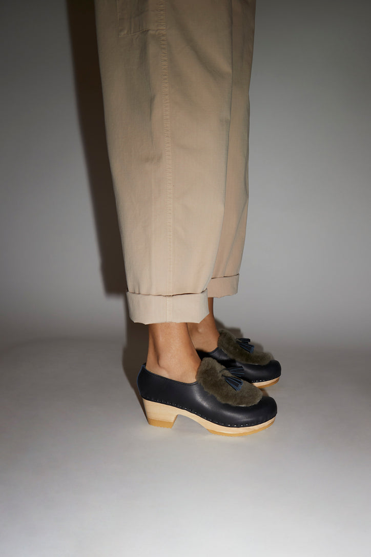 Image of No.6 Billie Fur Clog on Mid Heel in Indigo and Storm