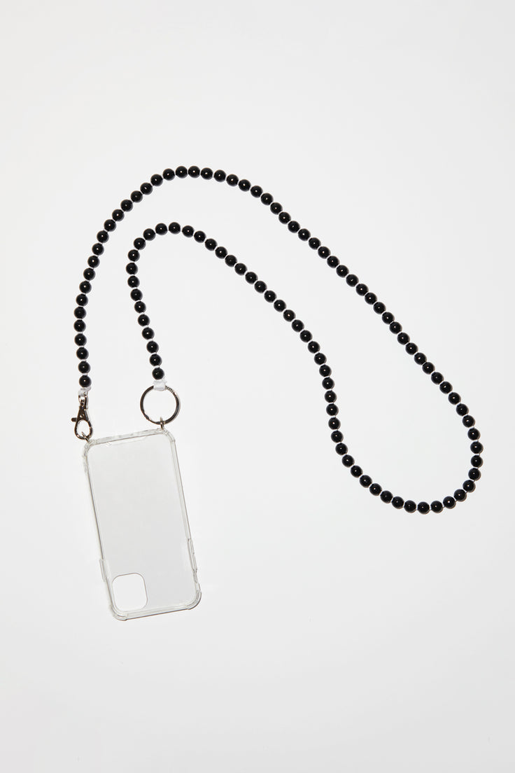 Image of Ina Seifart Handykette Iphone Necklace in Black with White Thread