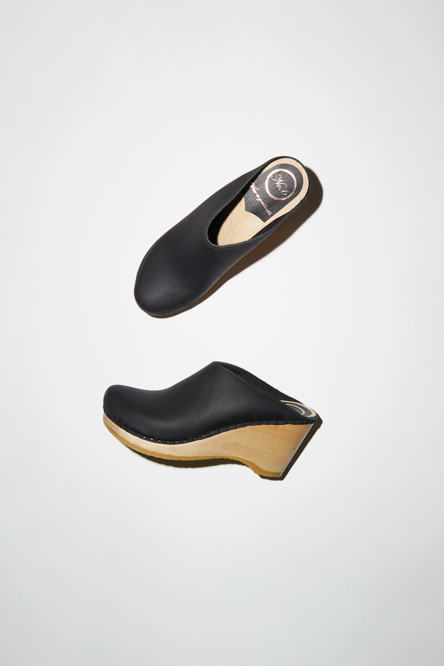No.6 New School Clog on Wedge in Black