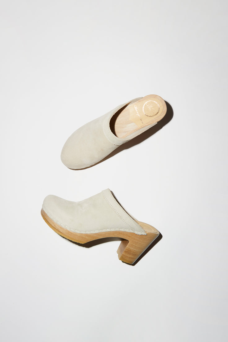 Image of No.6 Old School Clog on High Heel in Chalk Suede