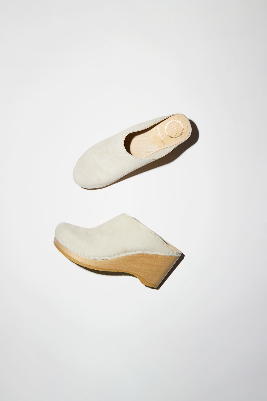 No.6 New School Clog on Wedge in Chalk Suede
