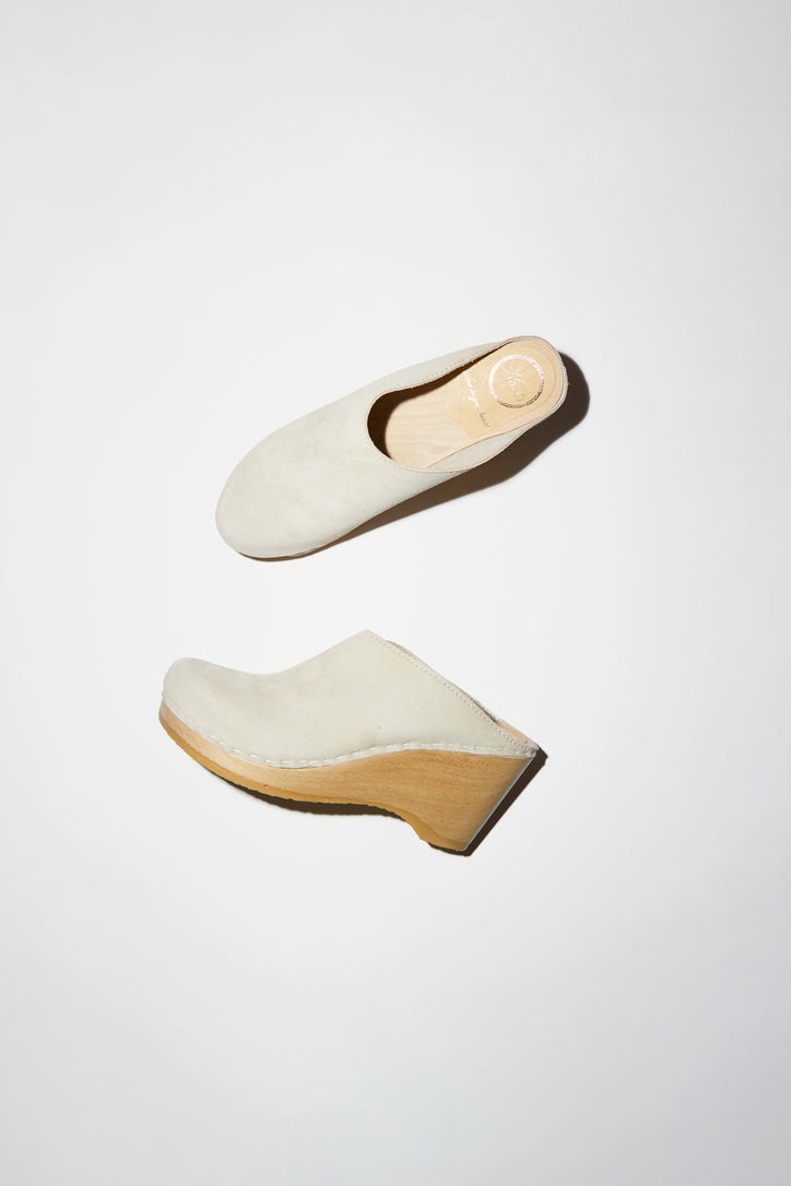 Image of No.6 New School Clog on Wedge in Chalk Suede