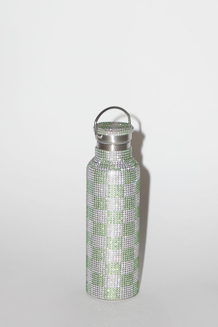 Image of Collina Strada Rhinestone Water Bottle in Lime Check