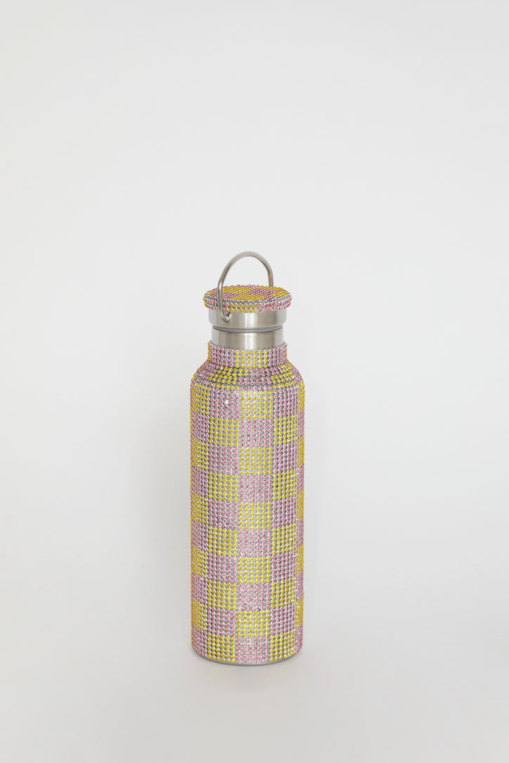 Image of Collina Strada Rhinestone Water Bottle in Pink Yellow Check