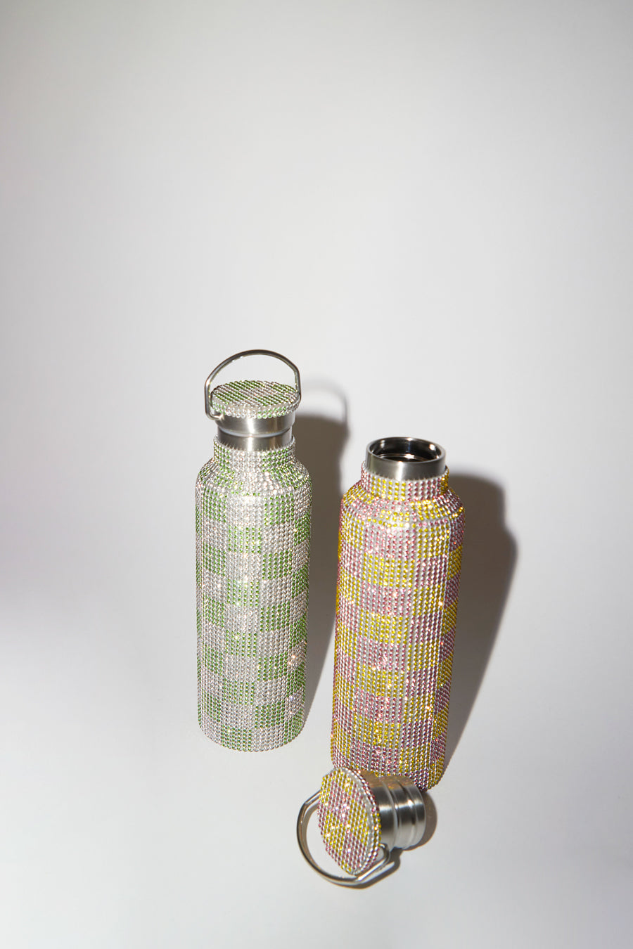 Collina Strada Rhinestone Water Bottle in Pink Yellow Check