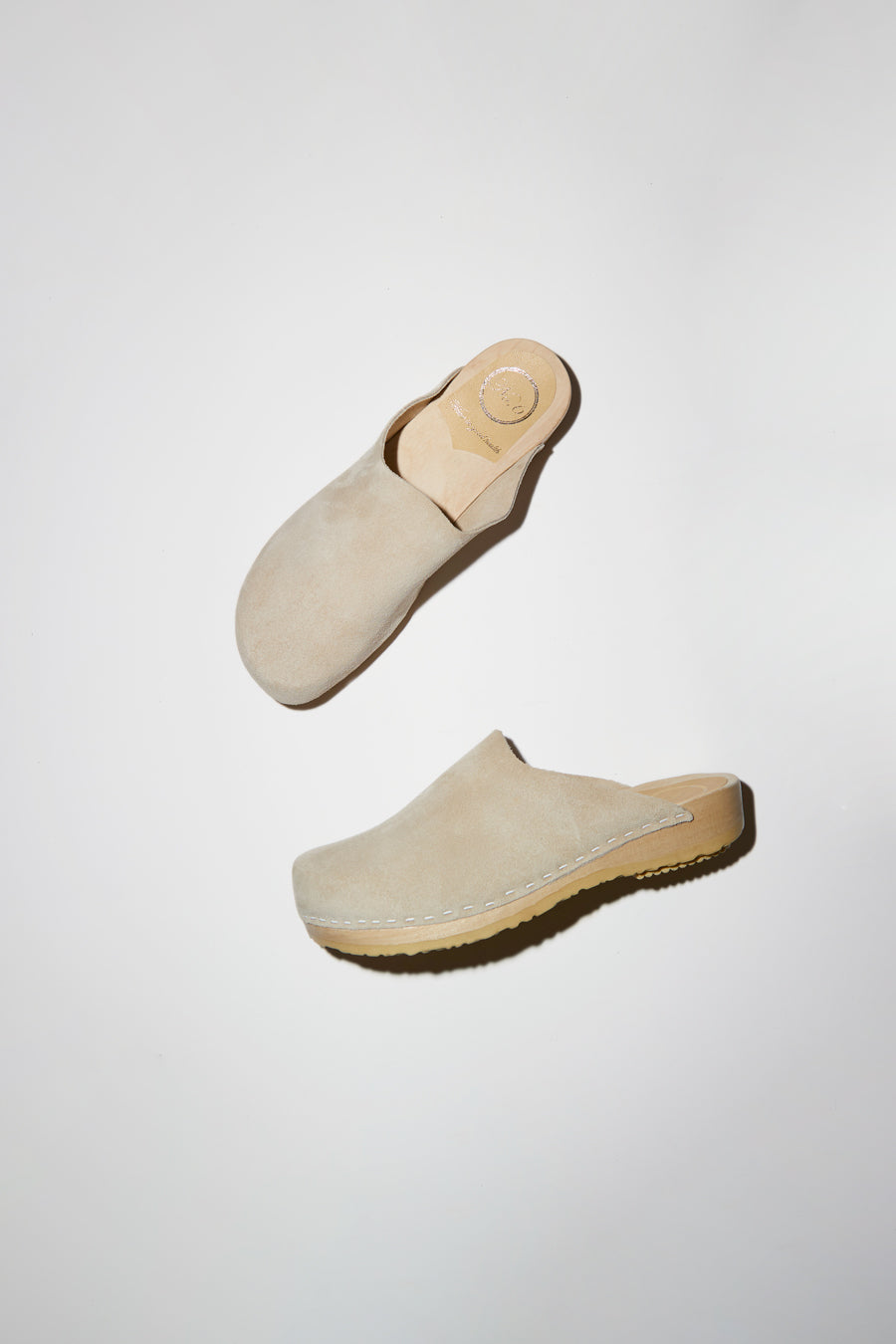 No.6 Contour Clog on Flat Base in Chalk Suede