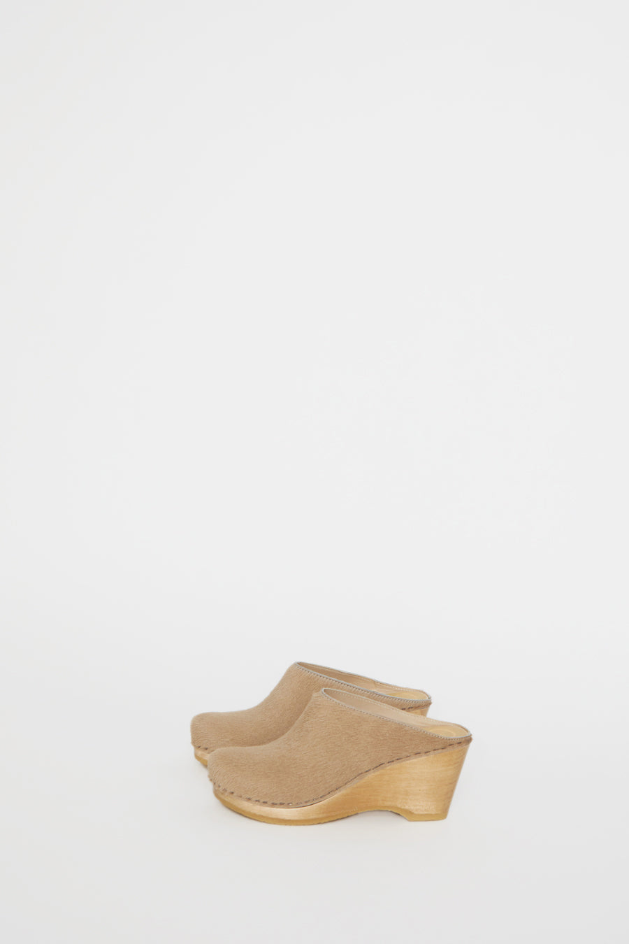 No.6 New School Clog on Wedge in Cream Pony