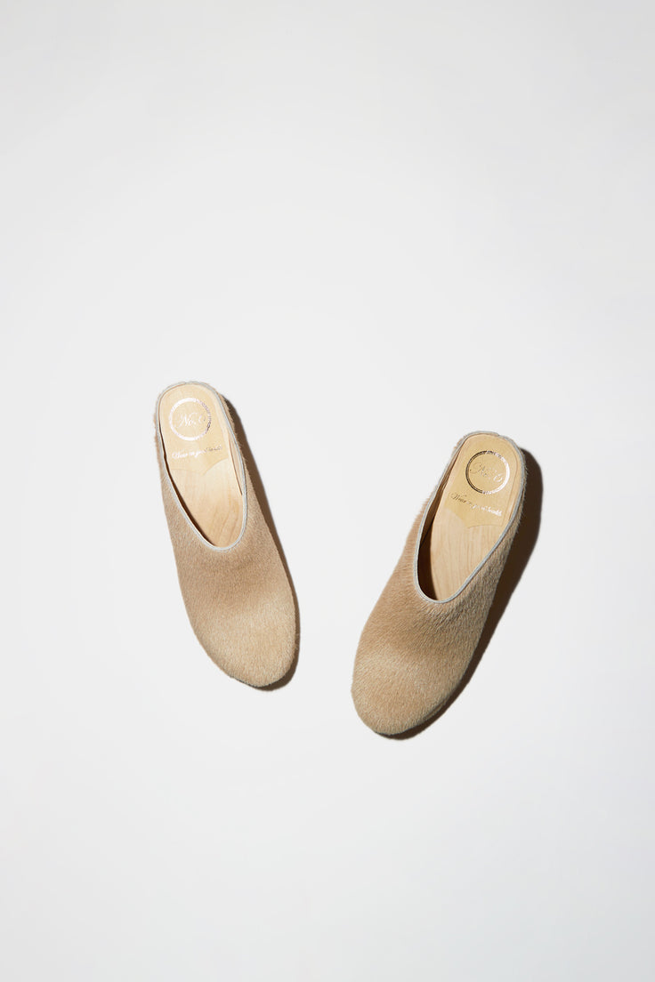 Image of No.6 New School Clog on Wedge in Cream Pony