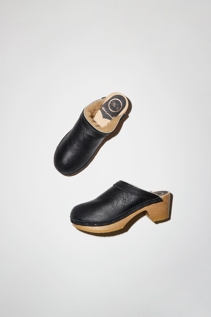 Image of No.6 Dakota Shearling Clog on Mid Heel in Ink Aviator