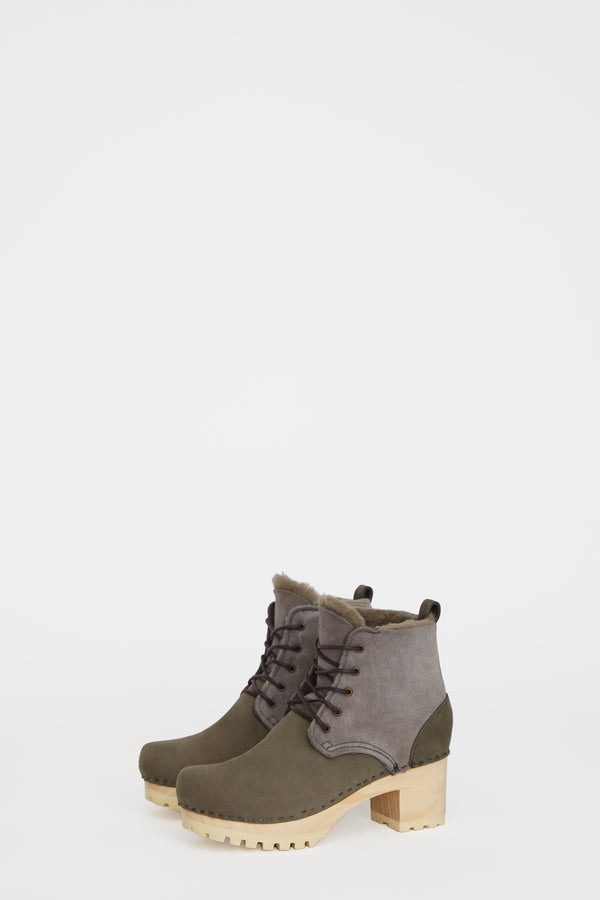 No.6 Lander Lace Up Shearling Clog Boot on Mid Tread in Storm Suede on White Base