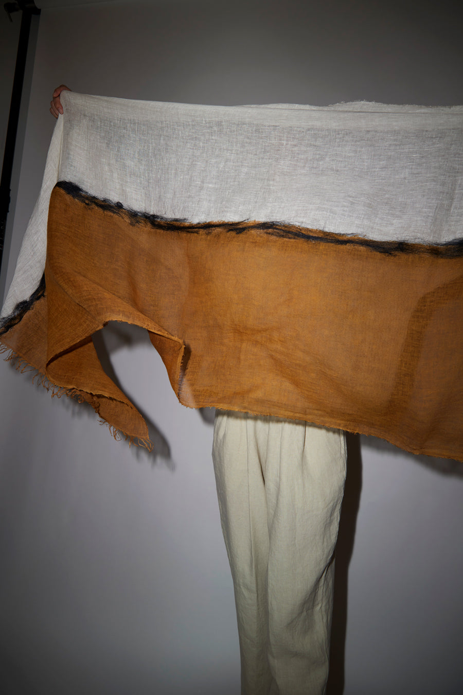 Exquisite J Painted Scarf in Cream and Tobacco
