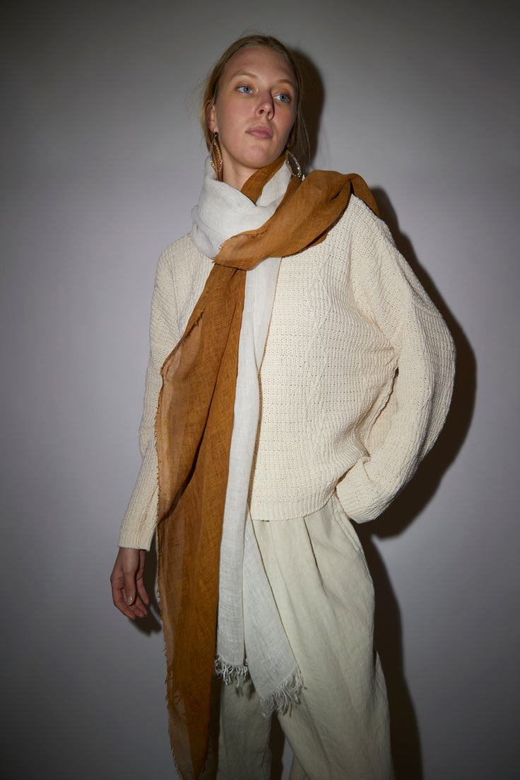 Image of Exquisite J Painted Scarf in Cream and Tobacco