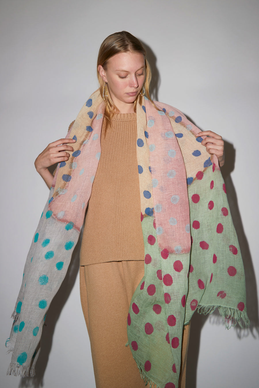 Exquisite J Painted Scarf in Multi Dots Pastel