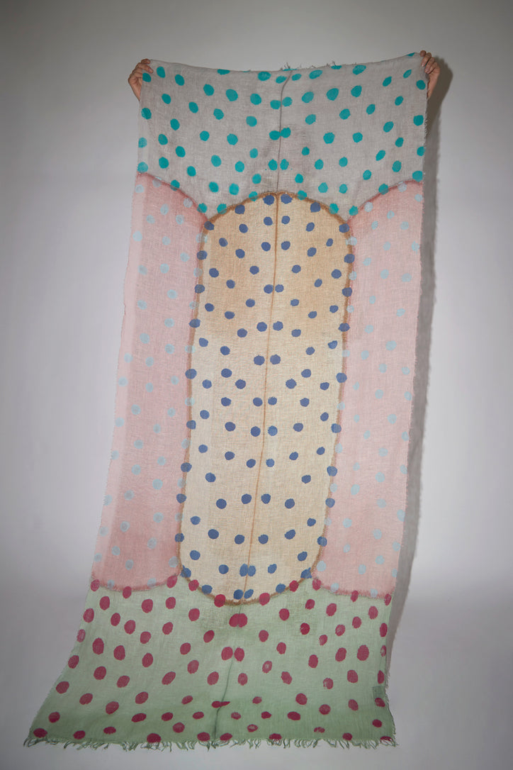 Image of Exquisite J Painted Scarf in Multi Dots Pastel