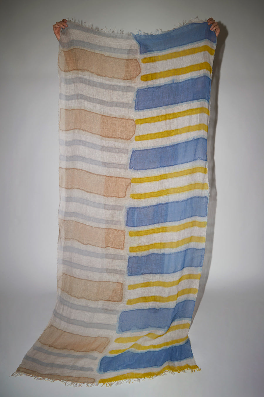Exquisite J Painted Scarf in Patchwork Stripe