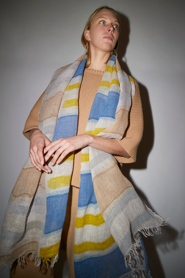 Image of Exquisite J Painted Scarf in Patchwork Stripe
