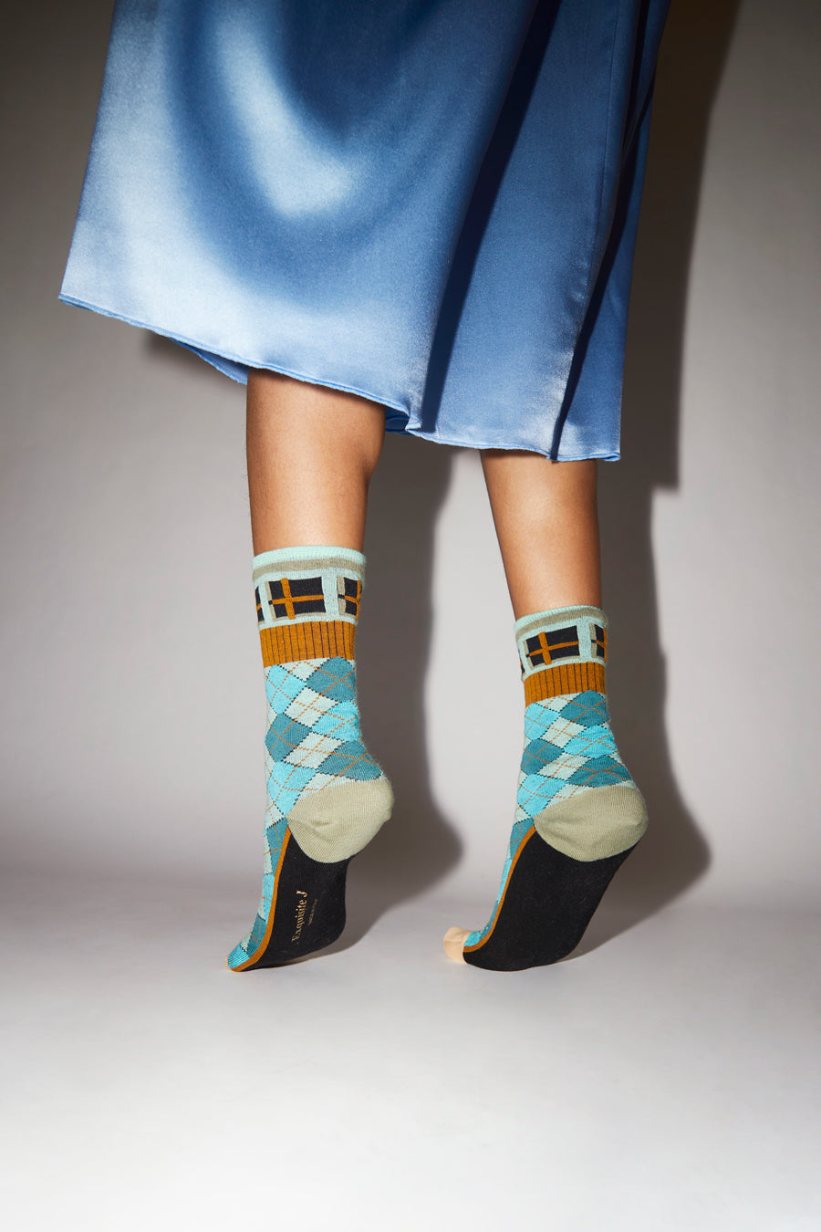 Exquisite J Plaid Socks in Neon Blue