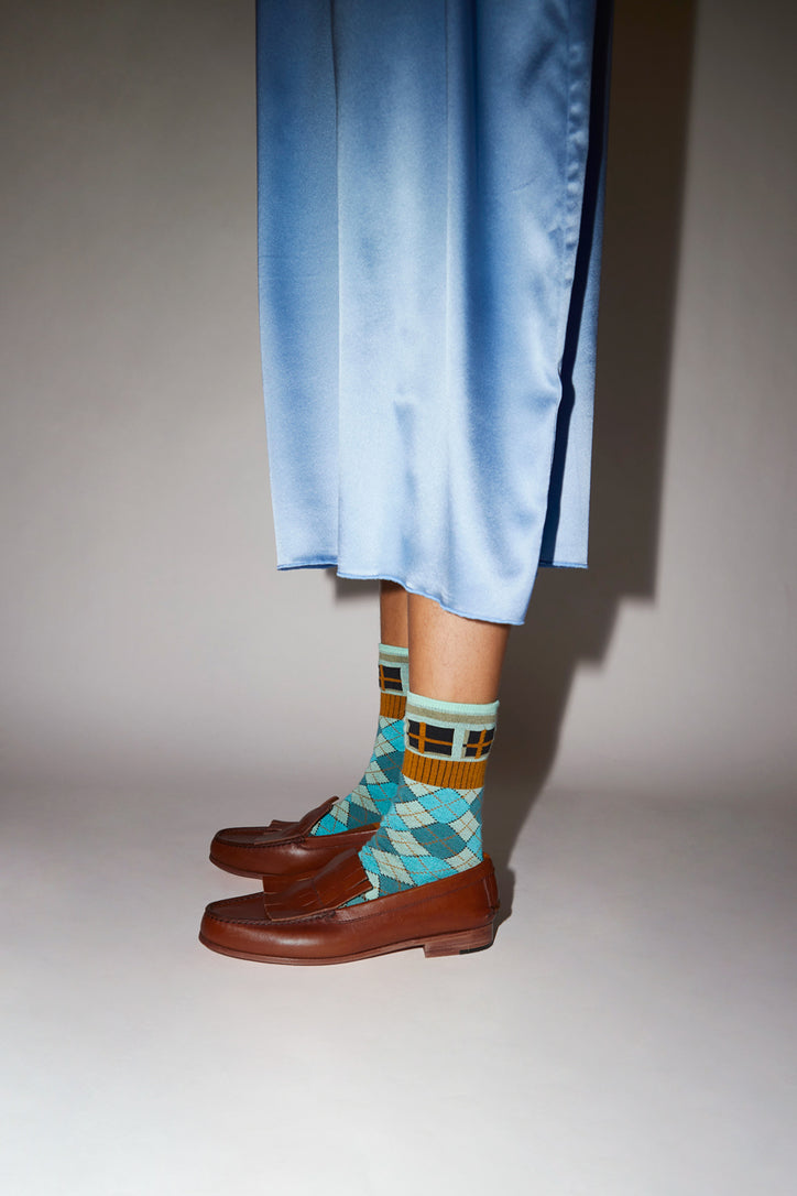Image of Exquisite J Plaid Socks in Neon Blue