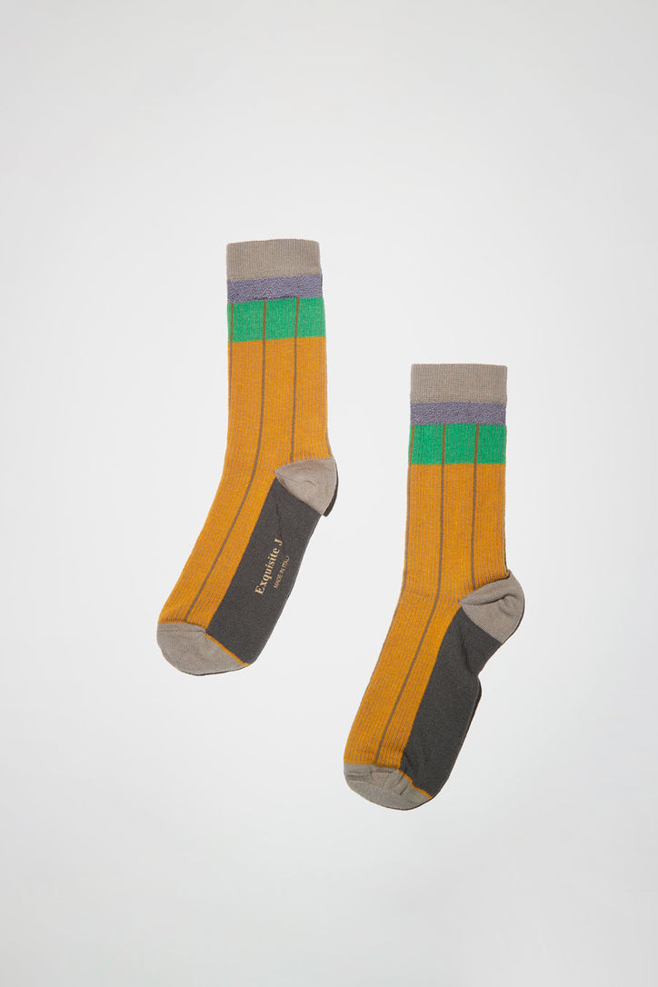 Image of Exquisite J Striped Socks in Orange