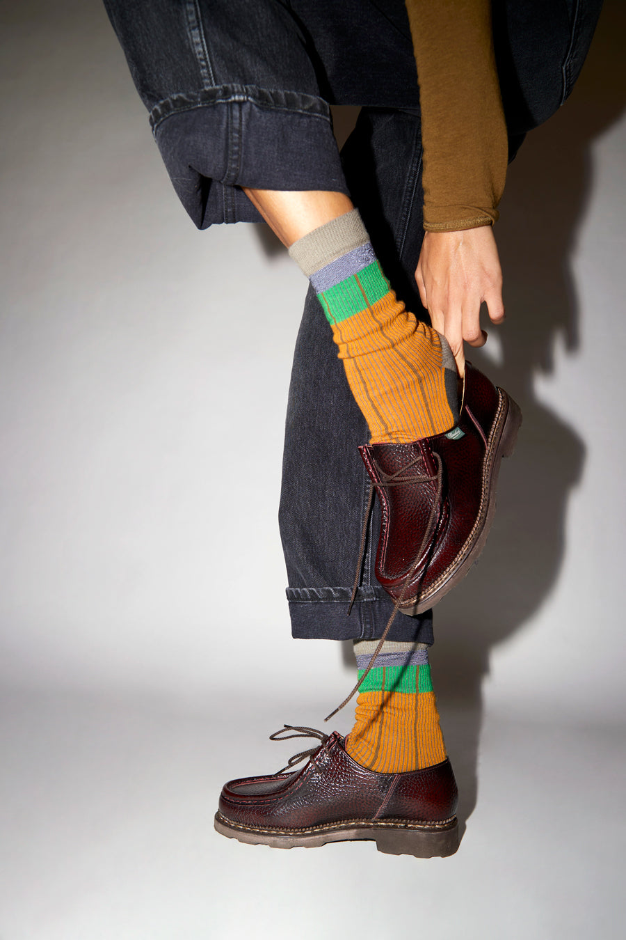 Exquisite J Striped Socks in Orange