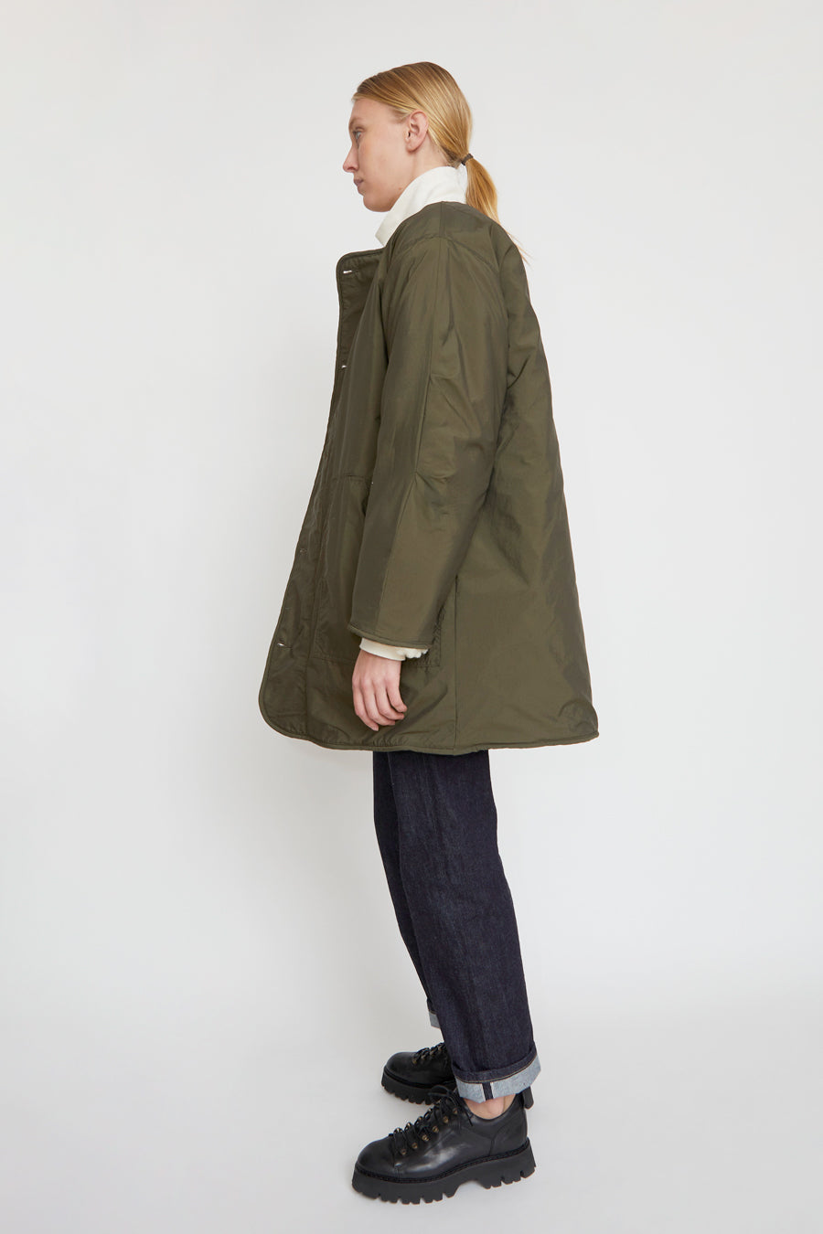 Girls of Dust Reversible Artic Liner in Khaki and White