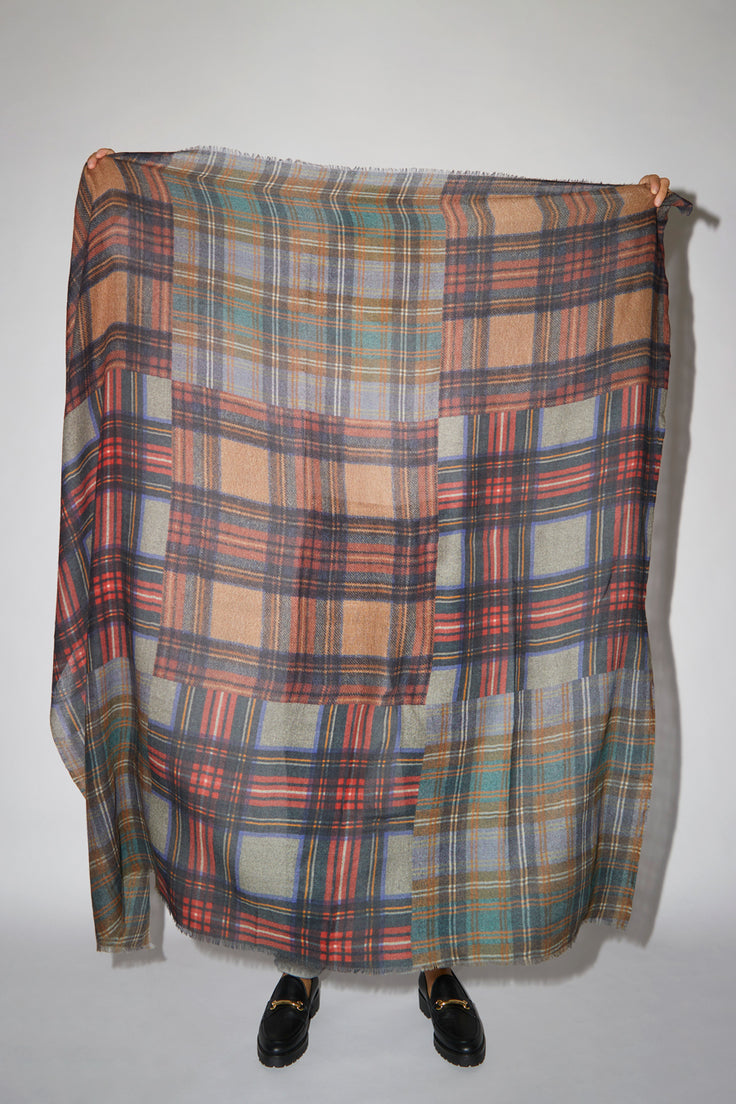 Image of Glen Prince Square Featherweight Wool Scarf in Multi Plaid Dark