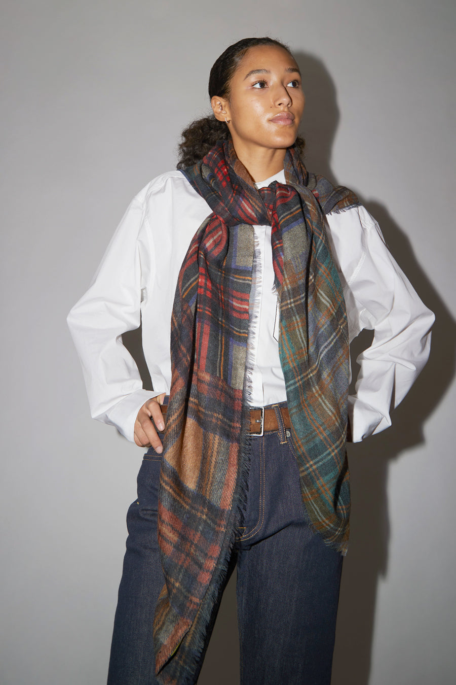 Glen Prince Square Featherweight Wool Scarf in Multi Plaid Dark