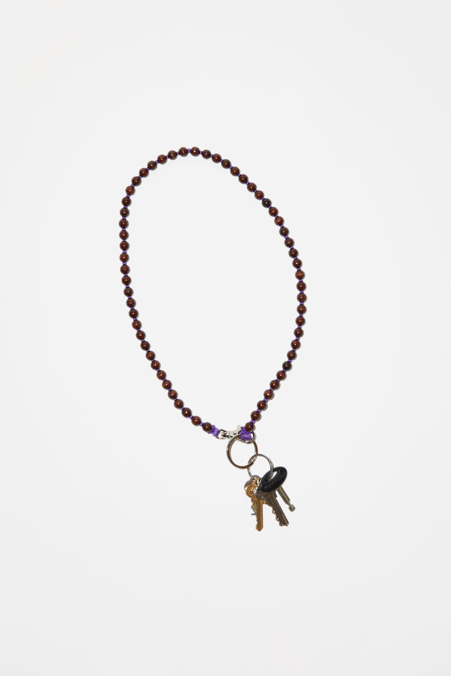 Ina Seifart Perlen Long Keyholder in Brown with Purple Thread