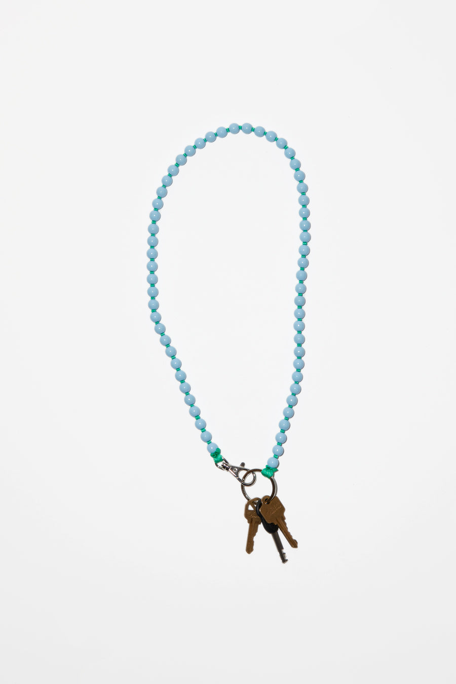 Ina Seifart Perlen Long Keyholder in Pastel Blue with Green Thread