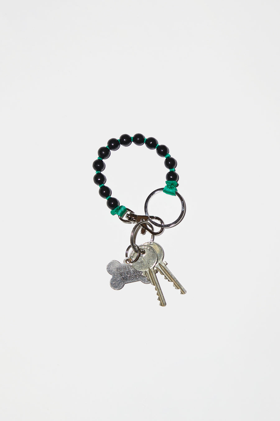Ina Seifart Perlen Short Keyholder in Black with Green Thread