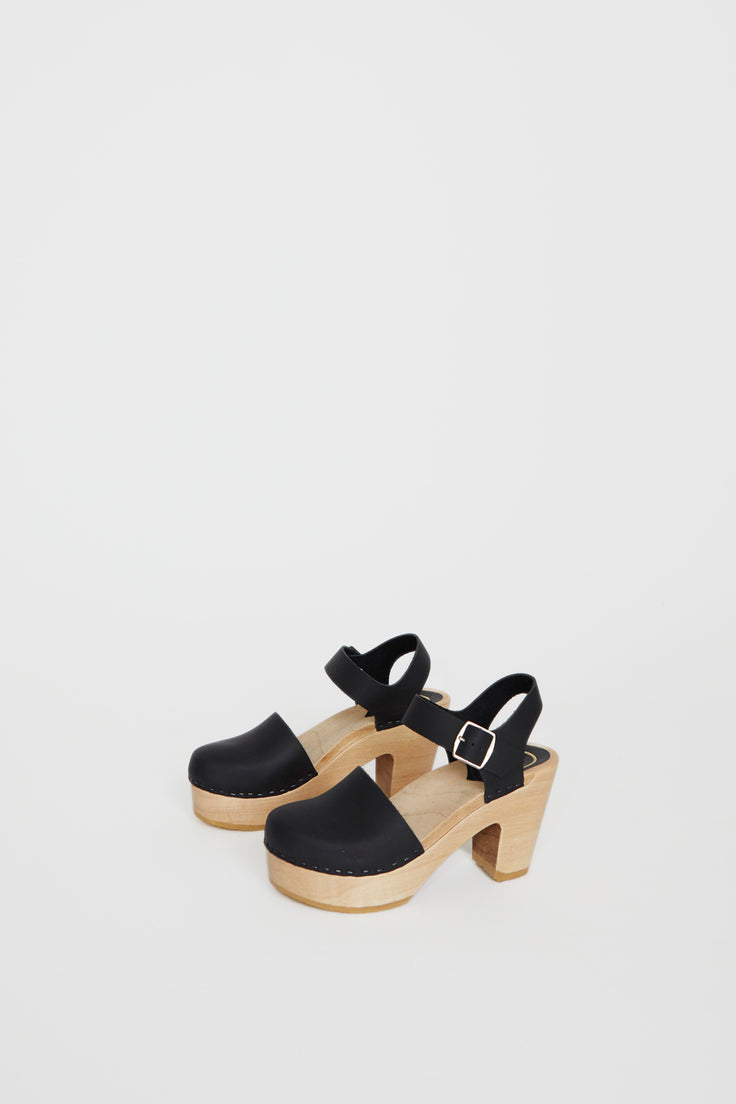 Image of No.6 Jackie Clog on Platform in Black