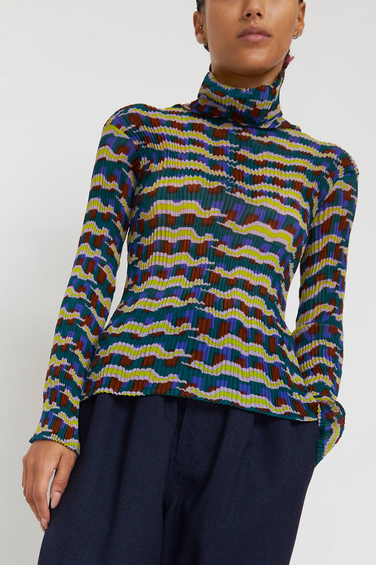 Image of Julia Heuer Otto Top in Print Tom Lilac Blue and Yellow