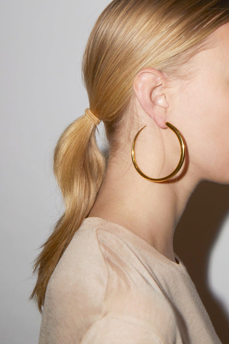 Image of Khiry Khartoum Hoops Nude in Gold Vermeil