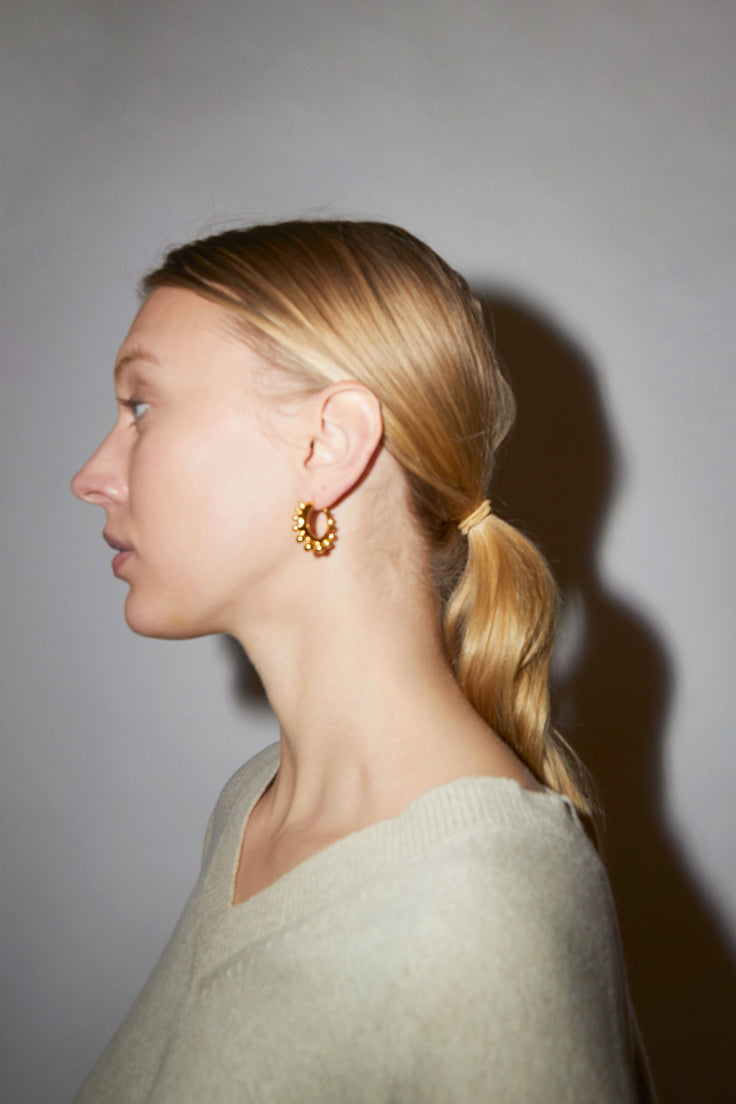 Image of Khiry Tiny Khartoum Hoops Embellished in Gold Vermeil