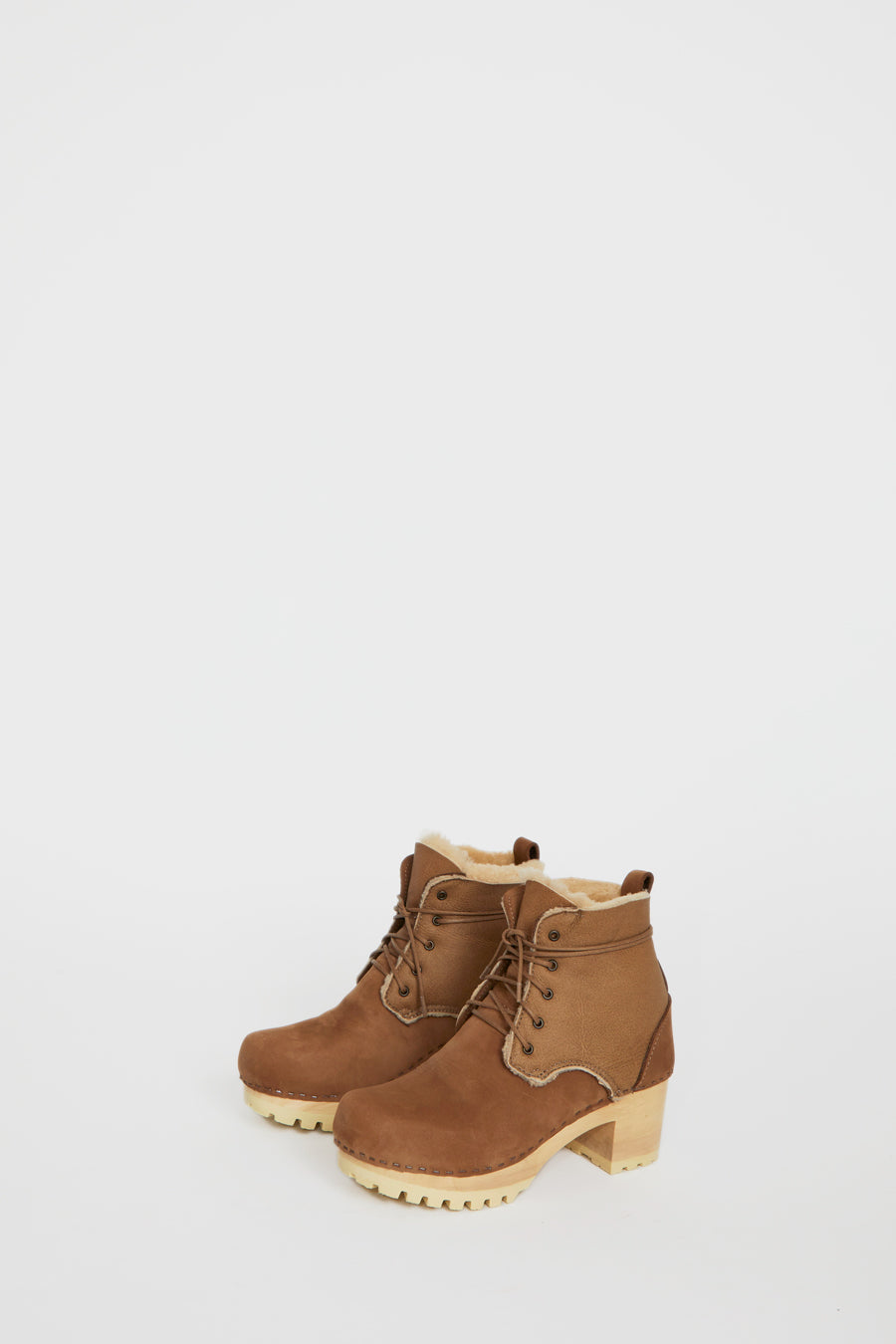 No.6 Lander Lace Up Shearling Clog Boot on Mid Tread in Honey Aviator on White Base