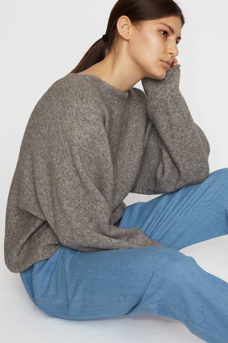 Lauren Manoogian Horizontal Dolman Sweater in Charcoal White