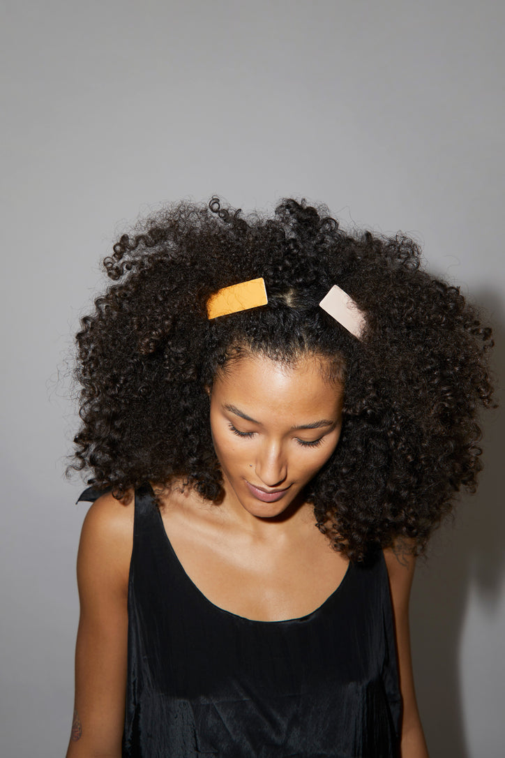 Image of Little Woman Paris Rectangle Barrette in Caramel