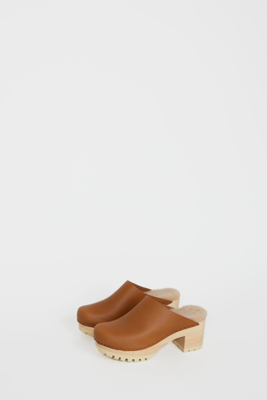 No.6 Liza Clog on Mid Tread in Palomino with Bone Shearling on White Base